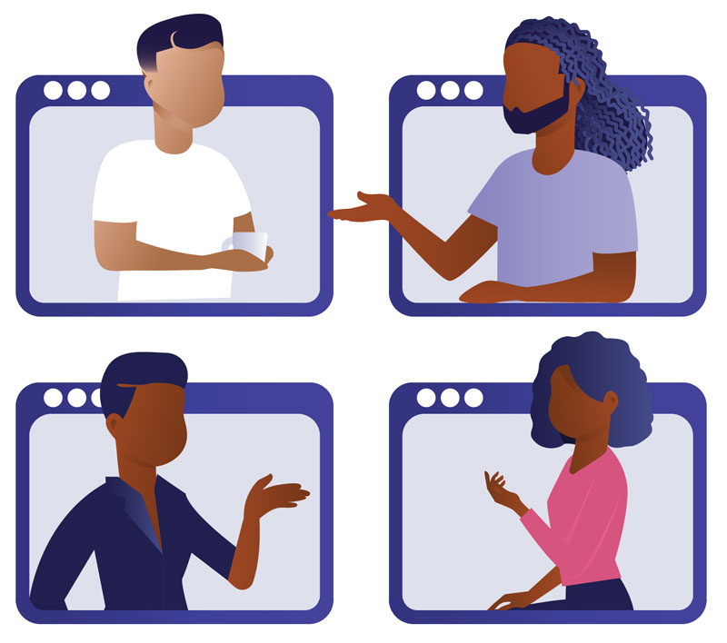 People of color talking with each other out of screens, such as on a video chat platform like Zoom