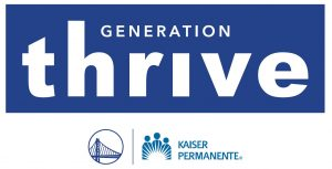 Generation Thrive Logo, with Warriors and Kaiser Permanente Logos below