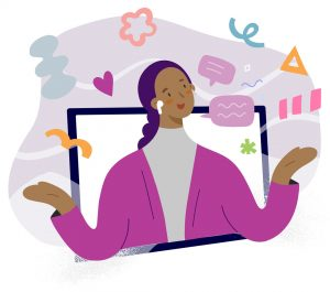 Illustration of a brown-skinned woman popping out of a monitor, with lots of abstract symbols suggesting excitement and creativity.