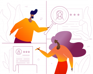 illustration with two figures reviewing employee profiles