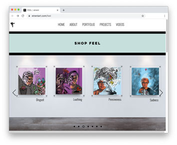Screenshot of a website with artworks that combine photography and drawing and painting. Each artwork represents a different emotion.
